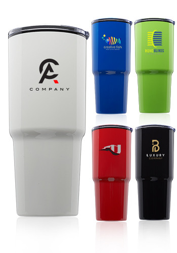 Customized 32 oz. Barton Plastic Double Wall Travel Mugs