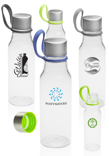 17 oz. Glass Water Bottles with Carrying Strap | WB325