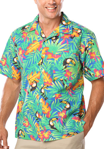 Blue Generation Adult Toucan Print Camp Shirts | BGEN3101