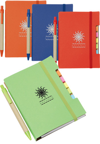 4 inch x 6 inch Recycled Sticky Notebooks with Pen | SM3548