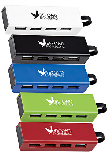 Promotional 4-Port Traveler USB Hub with Phone Stands