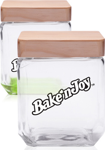 Promotional 41 oz. Square Glass Candy Jars with Wooden Lid