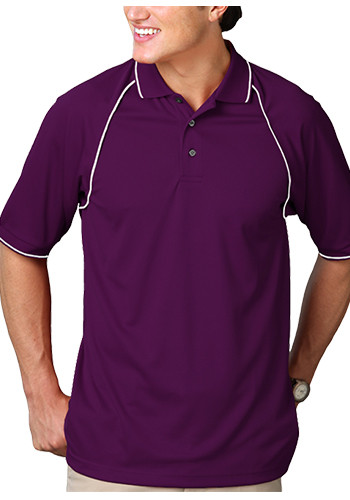 Blue Generation Men's Wicking Polo Shirts with Contrast Piping | BGEN7220