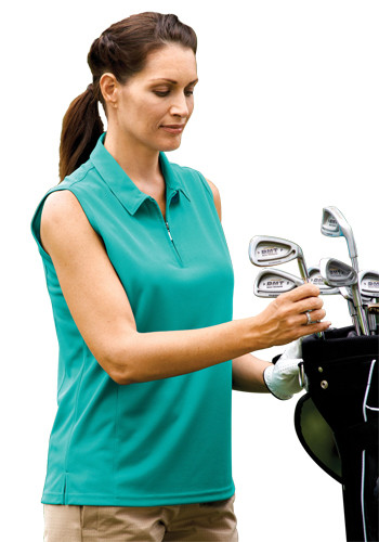 Bermuda Sands Lady Willow Sleeveless Zip Neck Polo Shirts | BS0292