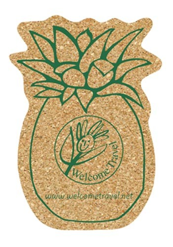 4.25 inch King Size Cork Pineapple Coasters | AM5XPN