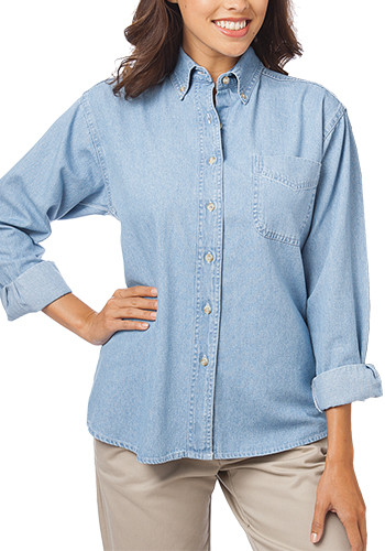 Blue Generation Ladies' Long Sleeve Premium Denim Shirts | BGEN8202