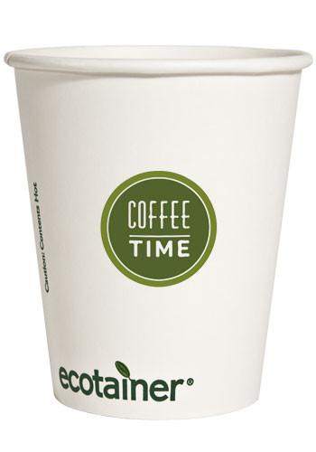 Custom 8 oz. Ecotainer Compostable Paper Hot Cups