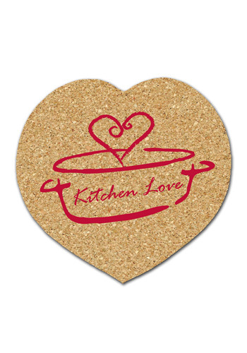 Bulk 4.25 inch Cork Heart Coasters