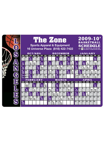 Customized Basketball Schedule Magnets