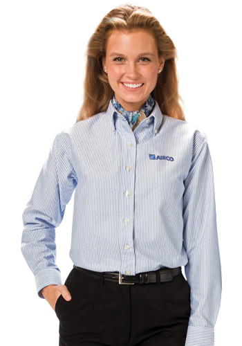 Blue Generation Ladies Long Sleeve Oxford Dress Shirts | BGEN6214