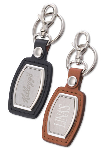 Leather & Brushed Plate Keychains | SM2386