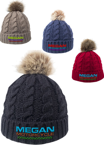 Cable Knit Beanies with Faux Fur Pom