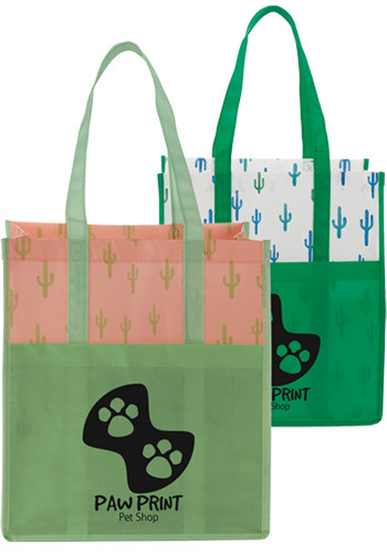 Cactus Laminated Shopper Totes | LE216084
