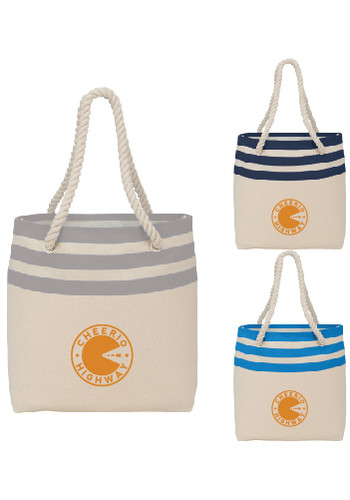 Capri Stripe Junior 8 Oz Cotton Canvas Rope Totes | LE790041