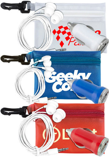 Bulk Car Accessory Kits in Carabiner Zipper Pouch