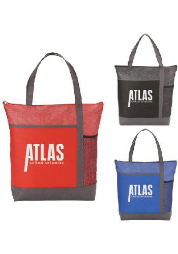 Chrome Non-Woven Zipper Convention Totes | SM5750