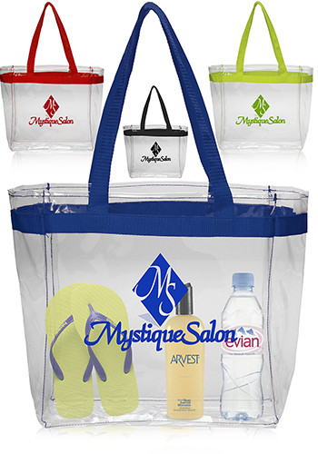 Customized Color Handles Clear Plastic Tote Bags