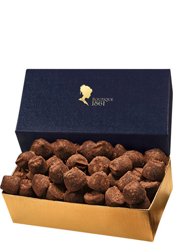 Cocoa Dusted Truffles in Navy Gold Gift Box | MRNVT143