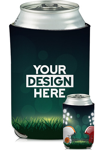 Collapsible Can Cooler Head to Head Football Print   KZ426