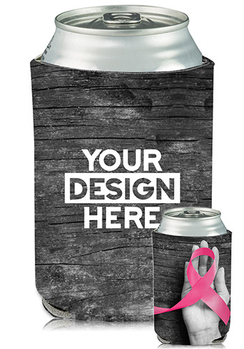 Customized Collapsible Can Coolers Breast Cancer Ribbon Print