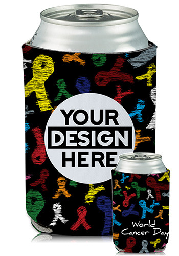 Personalized Collapsible Can Coolers Cancer Awareness Print