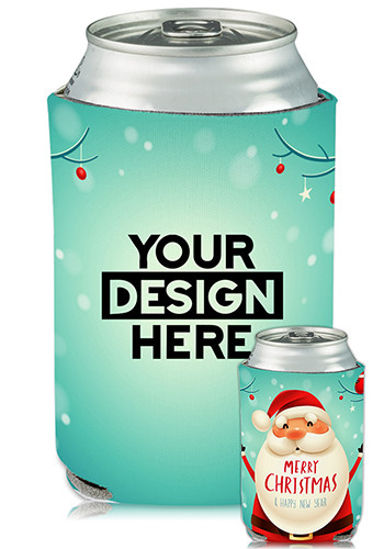 Promotional Collapsible Can Coolers Christmas Santa Print