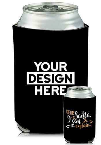 Collapsible Can Coolers Dear Santa Print   KZ467