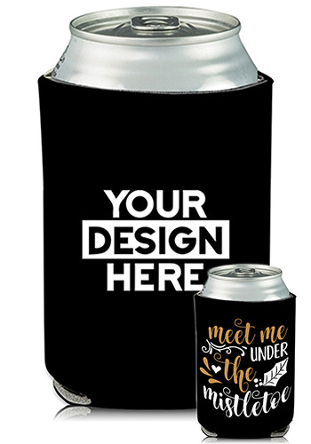 Bulk Collapsible Can Coolers Mistletoe Print