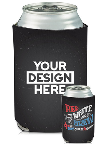 Collapsible Can Coolers Red White and Brew Print| KZ482