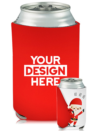 Personalized Collapsible Can Coolers Santa Claus Print