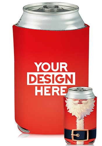 Custom Collapsible Can Coolers Santa Suit Print