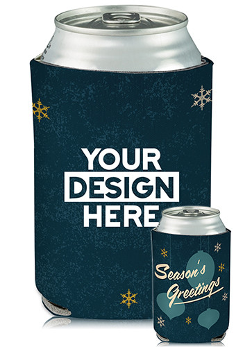 Promotional Collapsible Can Coolers Seasons Greeting Print