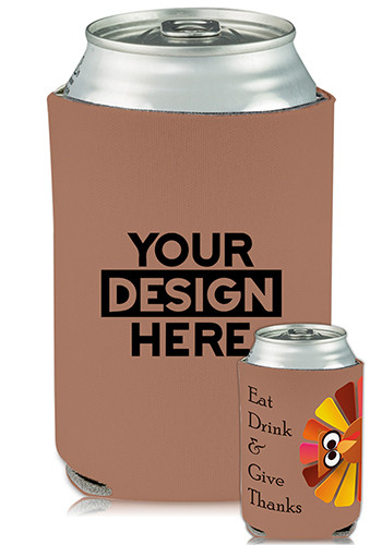 Bulk Collapsible Can Coolers Thanksgiving Turkey Print