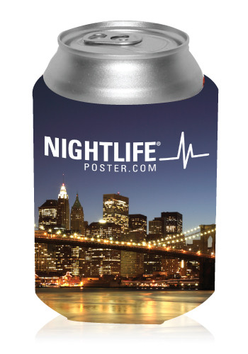 Night Skyline Can Coolers