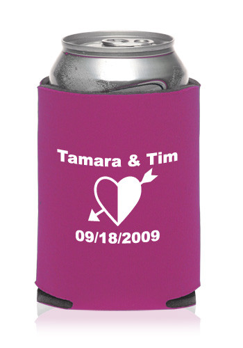 Customized Collapsible Shaded Heart Wedding Can Coolers