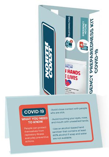 Customized COVID-19 Info Cards With Hand Sanitizer