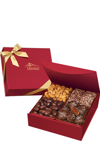 1.25 lbs. Assorted Chocolates and Nuts in Scarlet Magnetic Closure Keepsake Box | MRRMB939