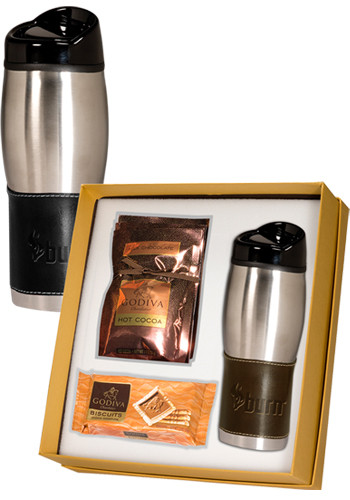 16 oz. Empire™ Leather-Stainless Tumblers & Godiva Deluxe Gift Set |PLLG9168