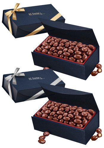 Wholesale Chocolate Covered Almonds in Navy Blue Magnetic Closure Gift Box