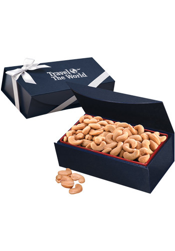 Extra Fancy Jumbo Cashews in Magnetic Navy Blue Box | MRNMB102