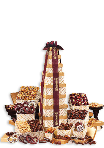 Wholesale Golden Delights Giant Party Tower with Burgundy Ribbon