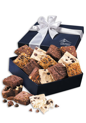 Gourmet Brownie Assortment in Navy Gift Box | MRNV956