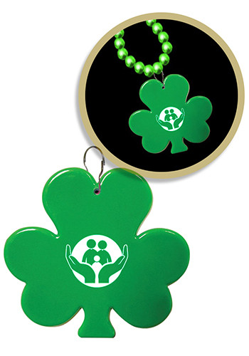 Green Shamrock Plastic Medallion Badges | WCJLR404