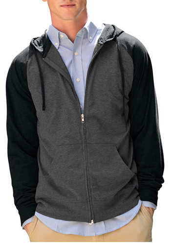 Full-Zip Two-Tone Jersey Knit Hoodies | 3295