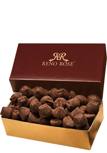 5 oz. Cocoa Dusted Truffles in Burgundy & Gold Gift Box | MRBGT143