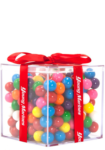 Acrylic Cube Gift Jars with Mini Gumballs | CICUBEDBG