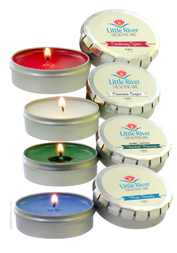 Custom Holiday Candles in Large Silver Push Tin