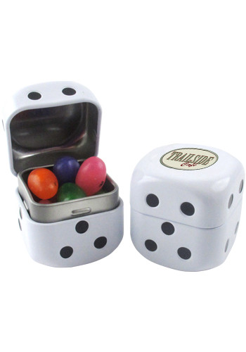 Custom Printed Jelly Beans in a Roll the Dice Tin