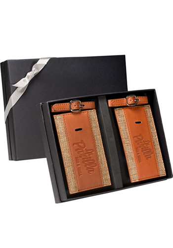 Sierra™ Leather Luggage Tags Gift Set |PLLG9352