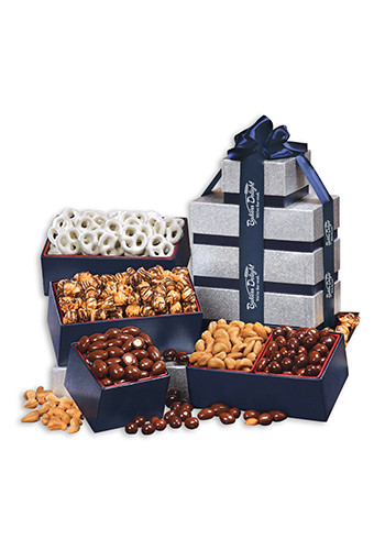 Silver & Navy Assorted Tower of Treats | MRSN567